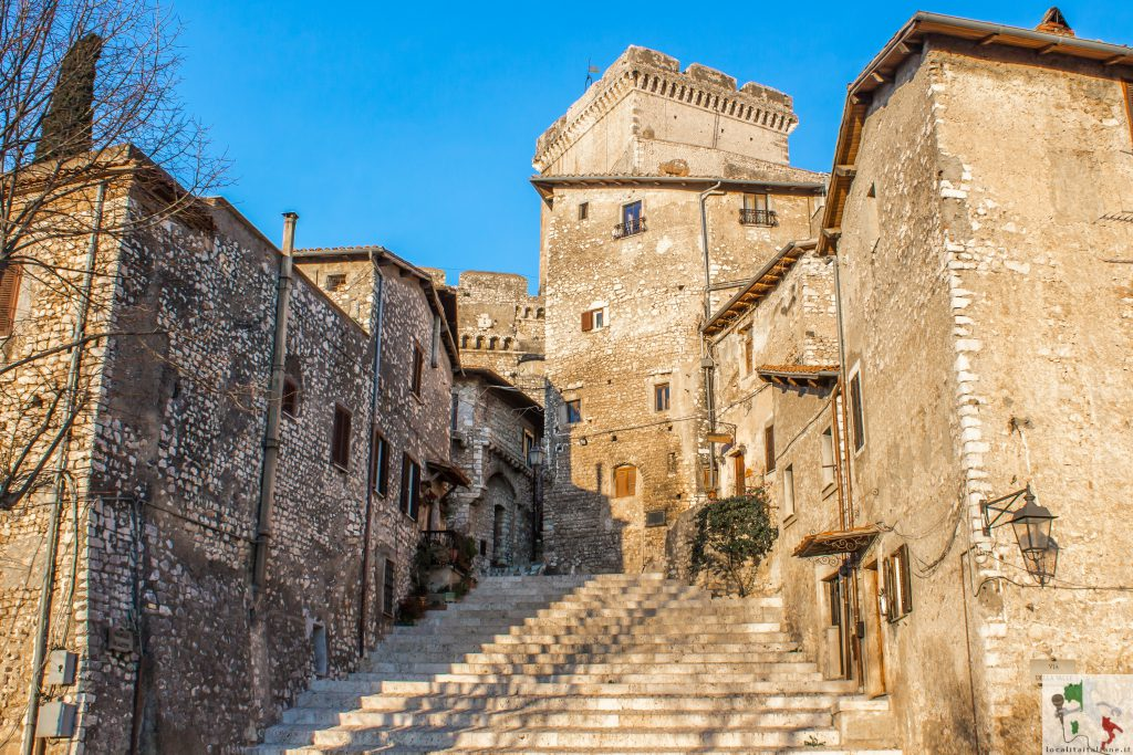 the staircase in the center of Sermoneta, a medieval village in